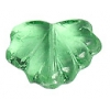 Glass Leaves 11x13mm Transparent Green Strung